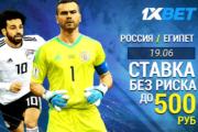 Ставки без риска на Россия – Египет и Россия – Уругвай от 1xbet