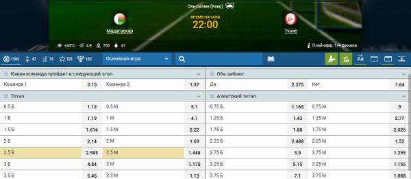 Сделать ставку в букмекерской конторе 1xbet на матч Мадагаскар - Тунис